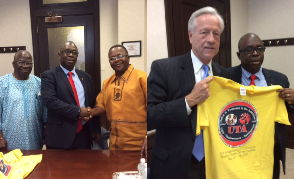 Union Of Todeeans group and a man holding a shirt